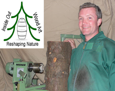 Image showing the Artist Chris Rymer at his German Hegner lathe
